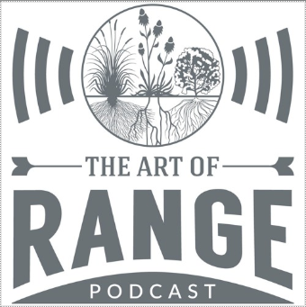 Logo of the Art of Range podcast, showing an illustration of range crops and radio waves.