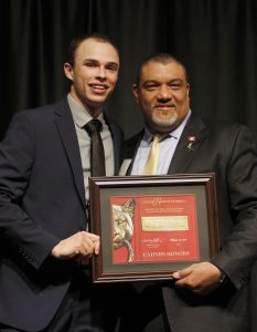 Lochridge, left, accepting his award with the Dean.