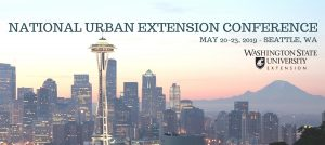 Photo illustration of Seattle skyline with NUEC title, WSU Extension logo