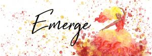 Graphic design from poster, showing an out of focus woman in an orange and red painted dress surrounded by orange and red dots with the word Emerge in script.