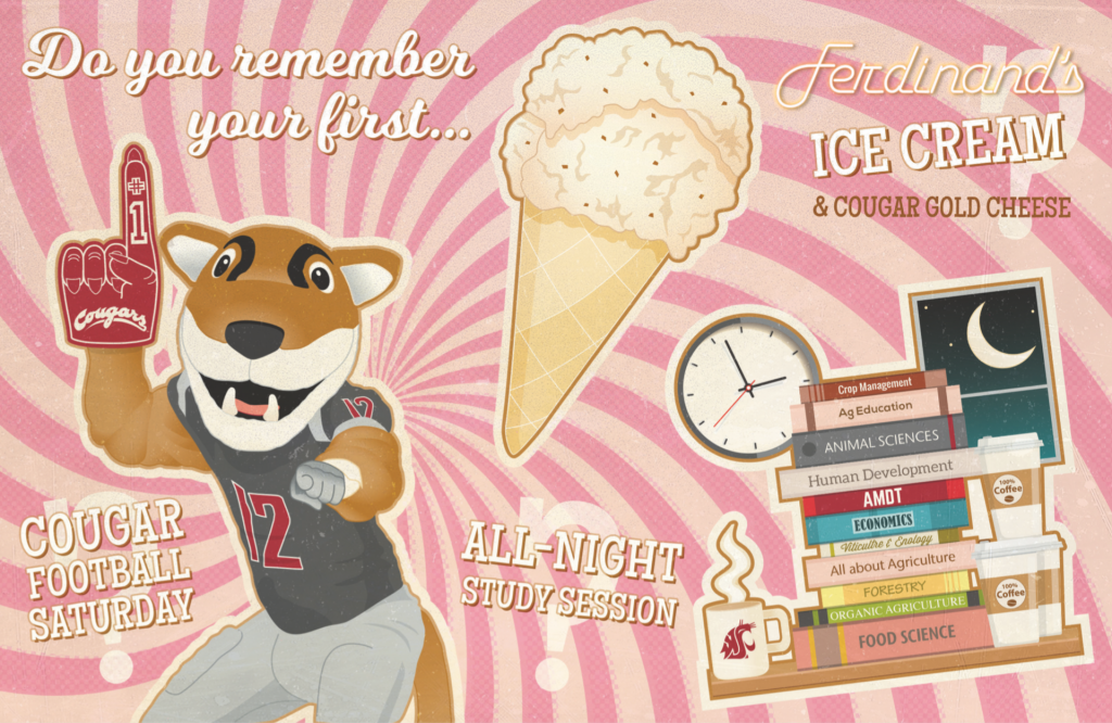 Postcard image with Butch mascot, ice cream and graphics of college life