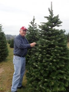 Chastagner stands next to a fir tree, looking at the camera and touching a few needles.