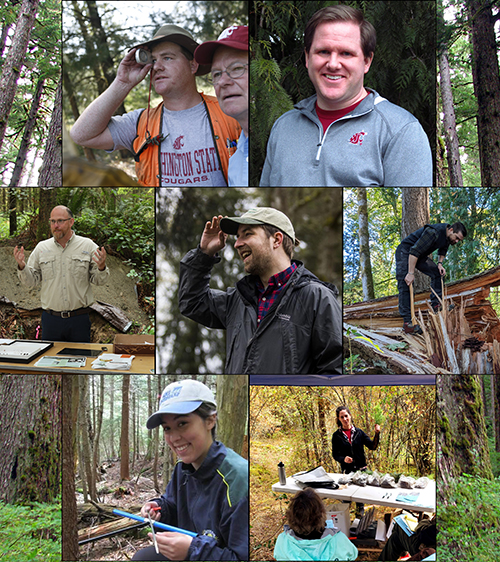 A photo collage of individual Extension members at field days, working outdoors, head shot portraits