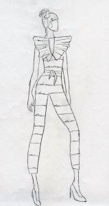 Early concept sketch of a woman in a jumpsuit with stripes.
