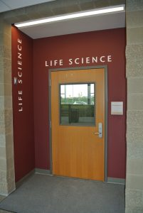 Door marked 'Life Science' at Wine Center