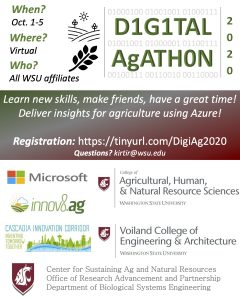 """Event poster. Lists sponsors and has tagline """"Learn new skills, make friends, have a great time! Deliver insights for agriculture using Azure!"""""""