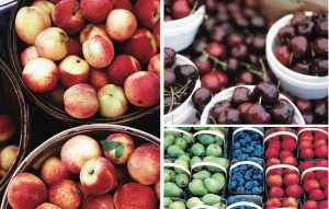 Composite image of different canning fruits