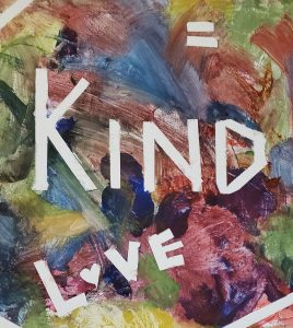 Multi-colored painting with the words 'Kind' and 'Love' in white.