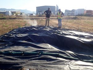 A black tarp on a field with steam seeping out from the edges. Two people stand nearby observing.