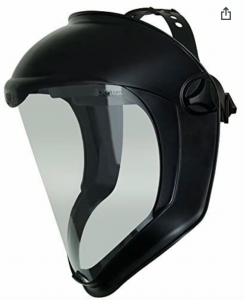 A black bionic face shield is displayed with a white background.