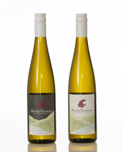 Two white wine bottles are shown with labels for 'north shore' and 'south shore.'
